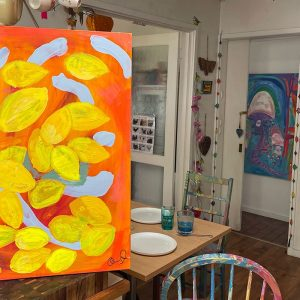Photo of a painting by Australian artist Claire Phillips titled Lemons