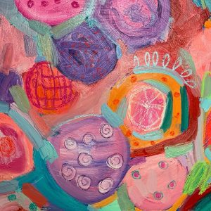 Photo of an oil painting on canvas by Australian artist Claire Phillips titled Watermelon Days