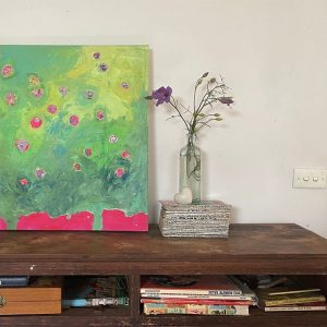 Photo of a painting by Australian artist Claire Phillips titled 2 Trees