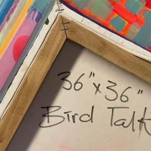 Photo of a painting by Australian artist Claire Phillips titled Bird Talk