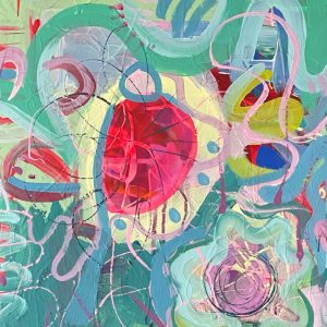 Photo of a painting by Australian artist Claire Phillips titled Bit Wobbly