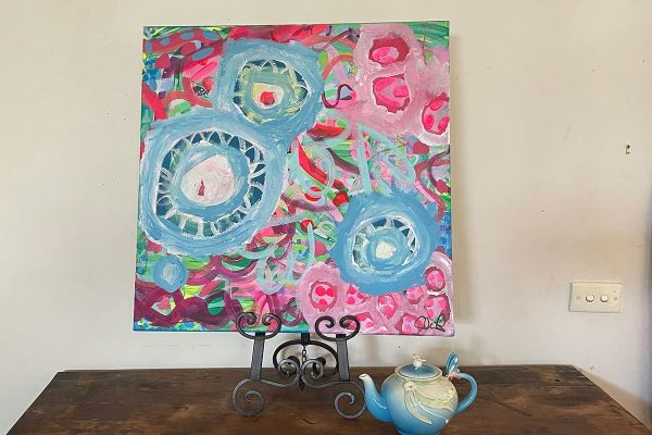 Photo of a painting by Australian artist Claire Phillips titled Blue Posy