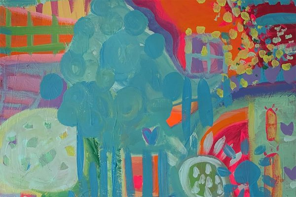 Photo of a painting by Australian artist Claire Phillips titled Bright Sunshiny Day