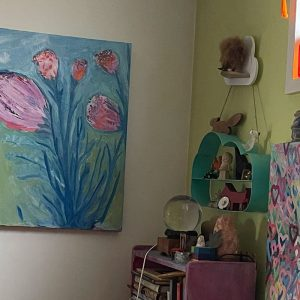 Photo of a painting by Australian artist Claire Phillips titled Dad Flowers
