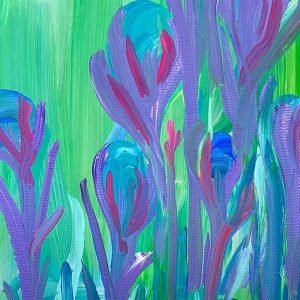Photo of a painting by Australian artist Claire Phillips titled Hello Blue