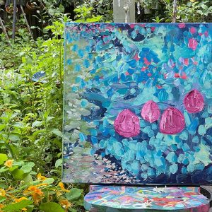 Photo of a painting by Australian artist Claire Phillips titled My Garden Carpet