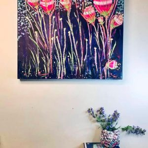 Photo of painting by artist Claire Phillips titled Pretty Weeds