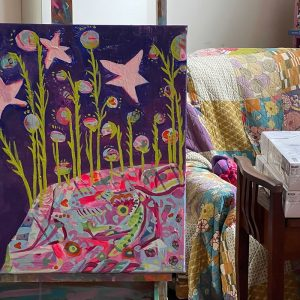 Photo of a painting by Australian artist Claire Phillips titled Star Jumps