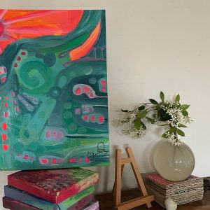 Photo of a painting by Australian artist Claire Phillips titled Sunny Streets
