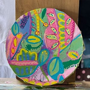 Photo of a painting by Australian artist Claire Phillips titled Terrarium