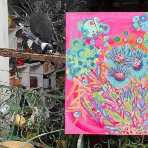 Photo of a painting by Australian artist Claire Phillips titled Thistle Fun