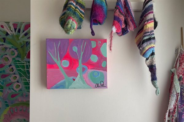 Photo of a painting by Australian artist Claire Phillips titled Tree Scape 1