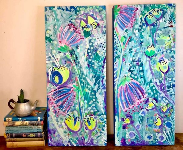 Photo of a painting by Australian artist Claire Phillips titled Wild Flowers I & II