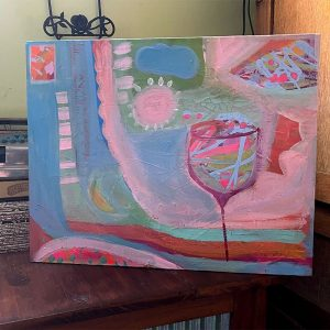 Photo of a painting by Australian artist Claire Phillips titled Wine Time