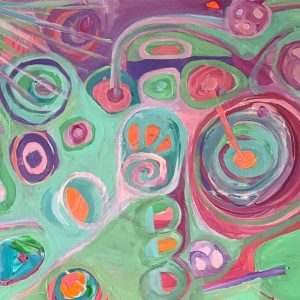 Photo of an acrylic painting on canvas by Australian artist Claire Phillips titled A Day In The Park