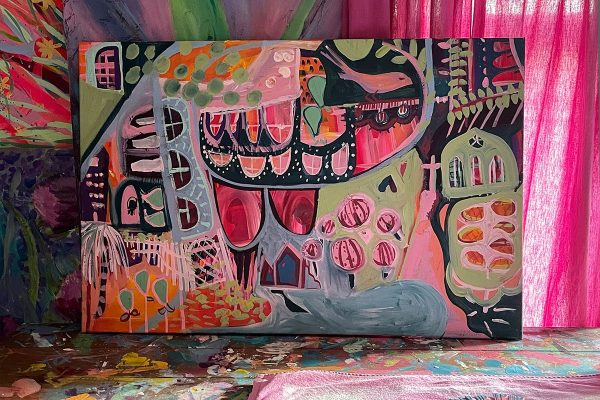 Photo of an acrylic painting on canvas by Australian artist Claire Phillips titled City of Windows