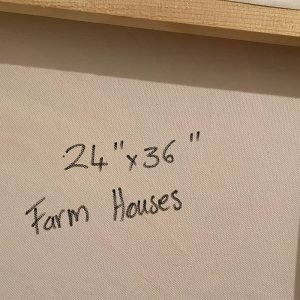 Photo of an acrylic painting on canvas by Australian artist Claire Phillips titled Farm Houses