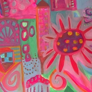 Photo of an acrylic painting on canvas by Australian artist Claire Phillips titled Lots of Love