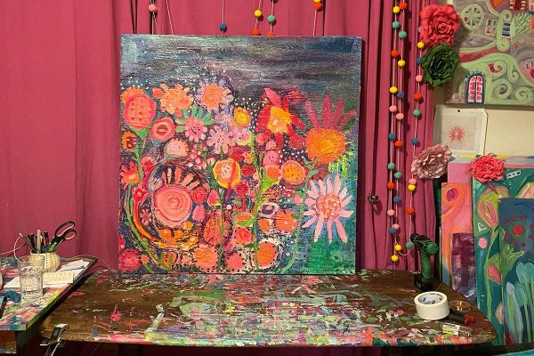 Photo of an oil painting by Australian artist Claire Phillips titled Night Garden