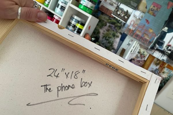 Photo of an acrylic painting on canvas by Australian artist Claire Phillips titled The Phone Booth