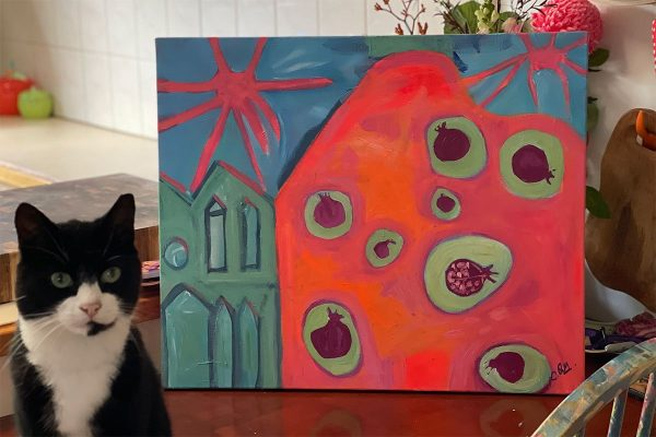Photo of an acrylic painting on canvas by Australian artist Claire Phillips titled Pomegranate Farm