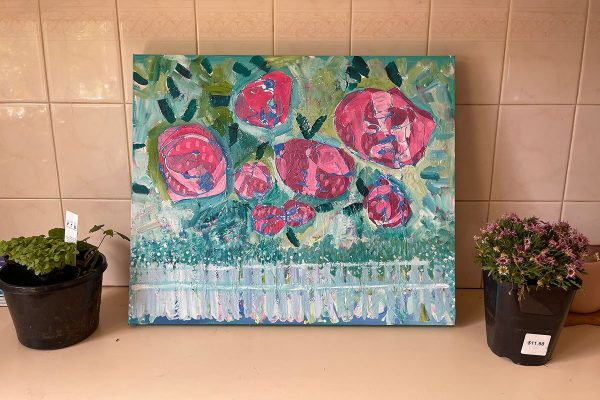Photo of an acrylic painting on canvas by Australian artist Claire Phillips titled Rose Garden Promises