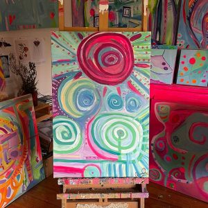 Photo of an acrylic painting on canvas by Australian artist Claire Phillips titled Saturday Spiral
