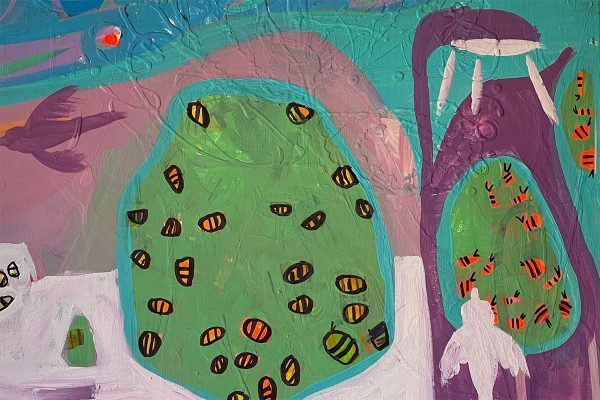 Photo of an acrylic painting on canvas by Australian artist Claire Phillips titled A Penguin in the shower and Bees in the trees