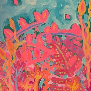 Photo of an acrylic painting on canvas by Australian artist Claire Phillips titled Wiggle Room