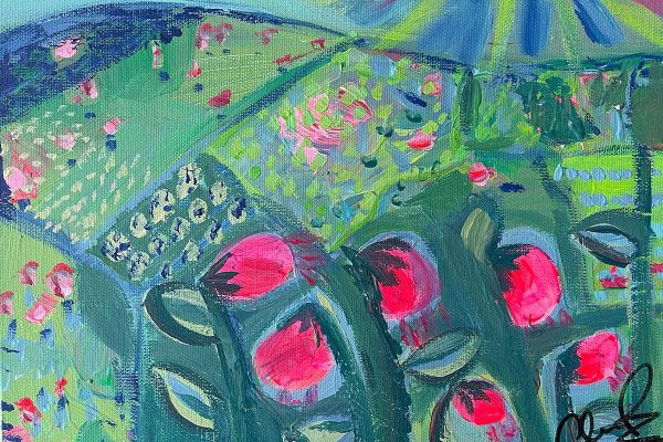 Photo of an acrylic painting on canvas by Australian artist Claire Phillips titled Green Fields