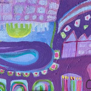 Photo of an Acrylic painting on canvas by Australian artist Claire Phillips titled My Castle My Home