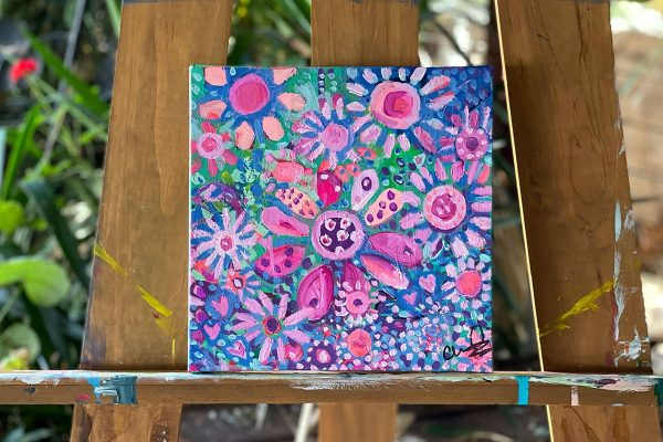 Photo of an acrylic painting on canvas by Australian artist Claire Phillips titled Sprinkles