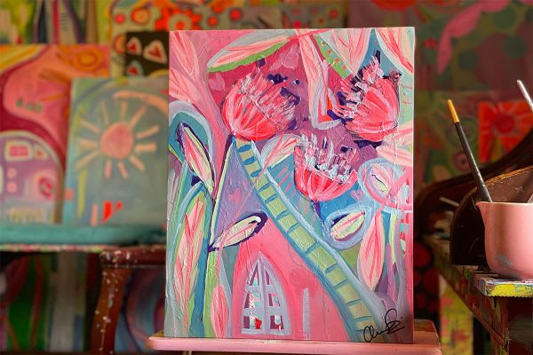 Photo of an Acrylic painting on canvas by Australian artist Claire Phillips titled Church Flowers