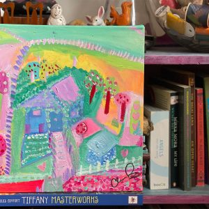 Photo of an Acrylic painting on canvas by Australian artist Claire Phillips titled Farm House Dreams