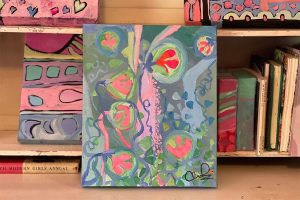 Photo of an Acrylic painting on canvas by Australian artist Claire Phillips titled Groovy Day