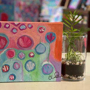 Photo of an Acrylic painting on canvas by Australian artist Claire Phillips titled Morning Tea